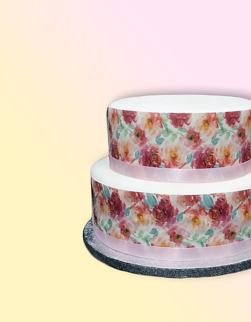 Watercolour Peony Floral Flower Border Decor Icing Sheet Cake Decoration Topper