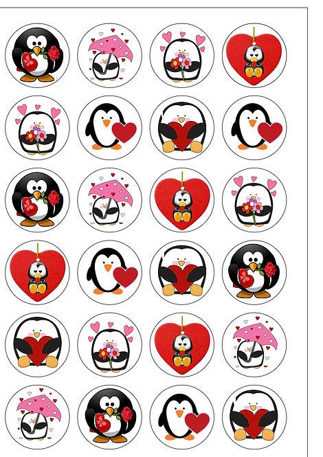 24 Cute Penguin Valentines Pre-Cut Thin Edible Wafer Paper