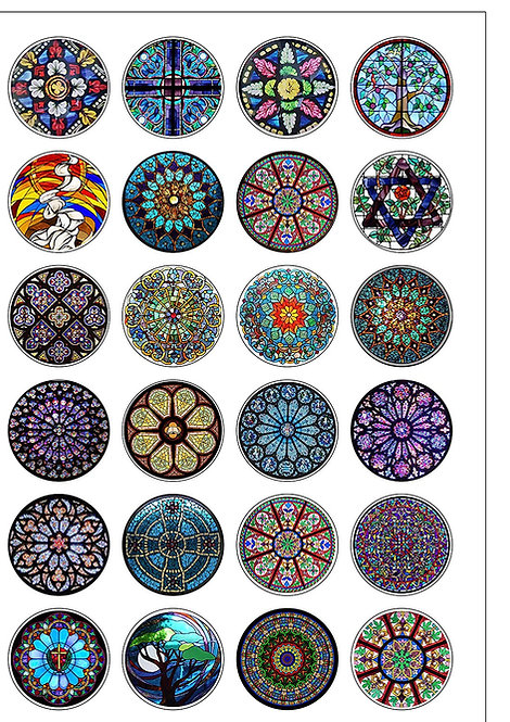 24 Stained Glass Pattern Pre-Cut Thin Edible Wafer Paper