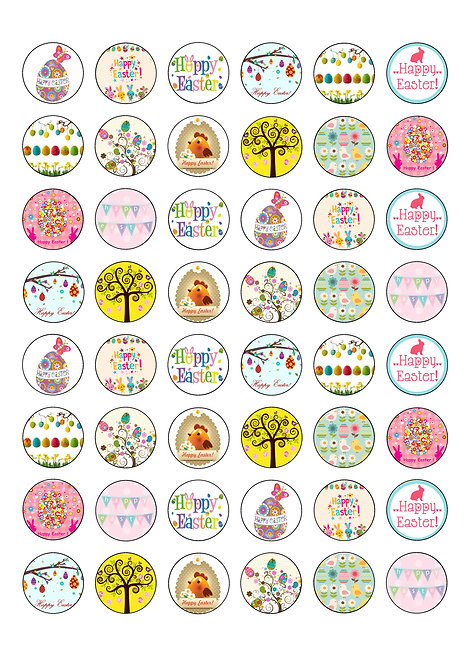 48 Easter 2.5cm Edible Wafer Toppers