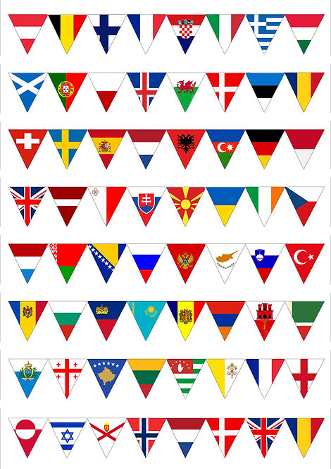 64 European Flags Europe Eurovision SMALL Bunting Decor Icing Sheet