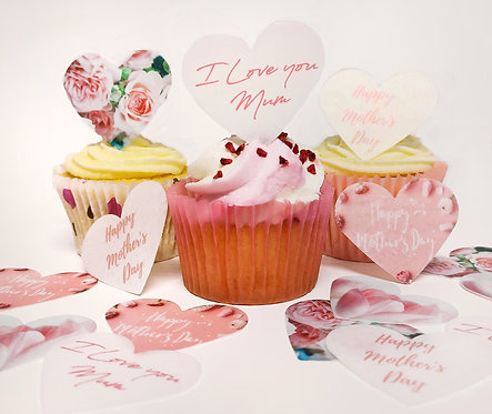 15 Pre-Cut Happy Mothers Day Hearts Edible Wafer Paper Toppers