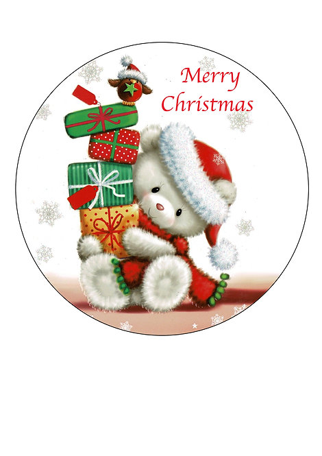 Cute Christmas Teddy Merry Christmas 7.5 Inch Circle Decor Icing Sheet Topper