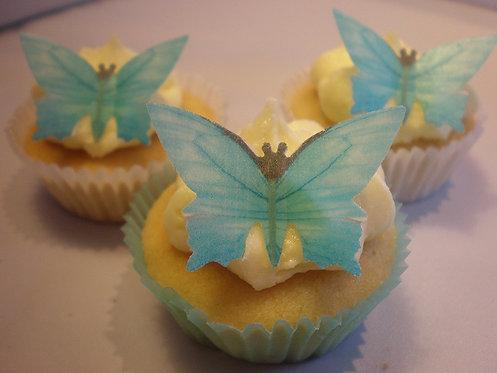 25 Pre-Cut Blue Butterflies Thin Edible Wafer Paper