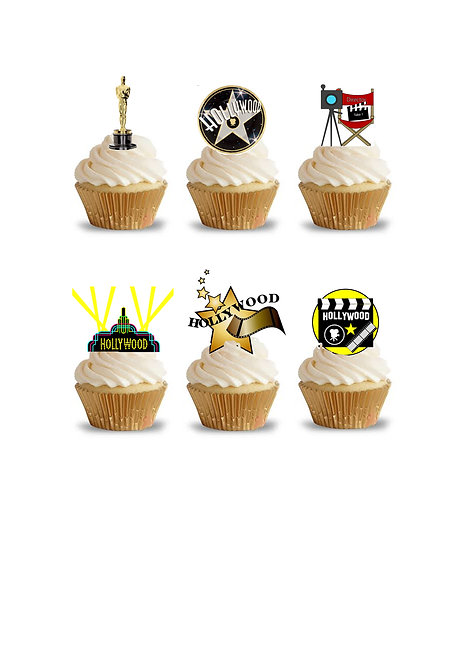 32 Stand Up Edible Wafer Paper Hollywood Movie Oscar Themed Toppers
