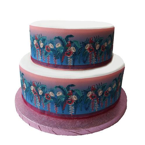 Lotus Flower & Parrot Border Decor Icing Sheet Cake Decoration
