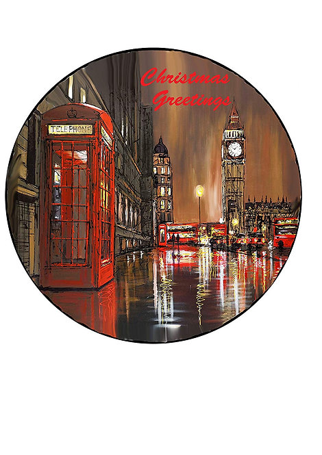 London City Christmas Scene 7.5 Inch Circle Decor Icing Sheet