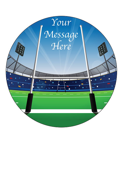 Rugby Stadium PERSONALISED MESSAGE 7.5 Inch Circle Decoration