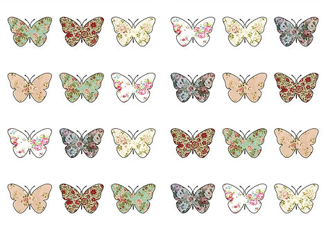 24 Vintage Butterfly Toppers Edible Thin Wafer Paper