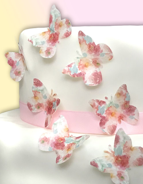 24 Pre-Cut Watercolour Peony Floral Flower Butterflies Thin Edible Wafer Paper