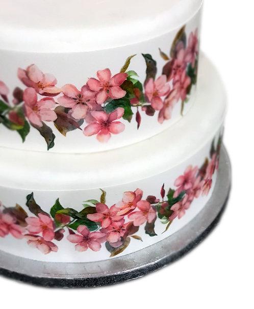 Pink Cherry Blossom Border Decor Icing Sheet Cake Decoration
