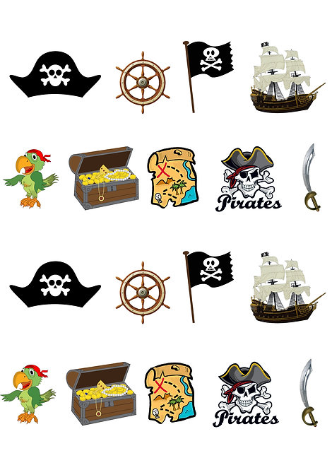 18 Stand Up Edible Wafer Paper Pirate Toppers