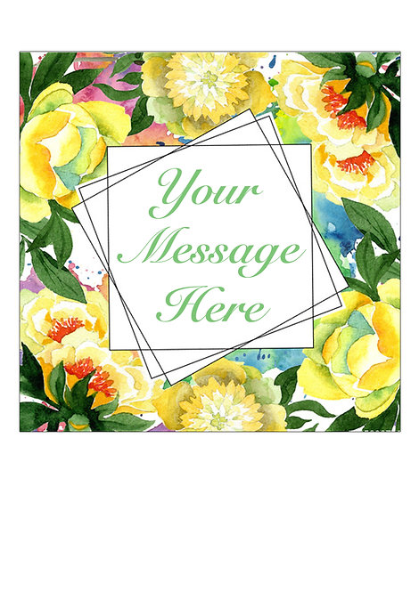 Yellow Flower PERSONALISED MESSAGE 7.5 Inch SQUARE Decor Icing Sheet