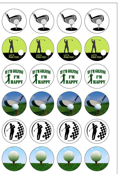 24 Golf Sport Pre-Cut Thin Edible Wafer Paper