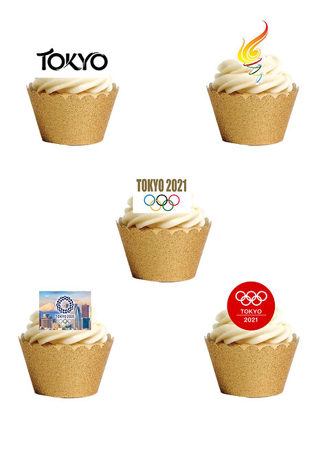 24 Stand Up Olympics Tokyo 2021 Edible Wafer Paper Cake Toppers