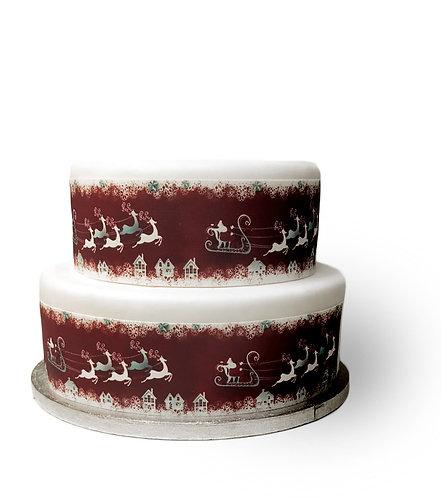 Red & White Christmas Santa's Sleigh Border Decor Icing Sheet Cake Decoration