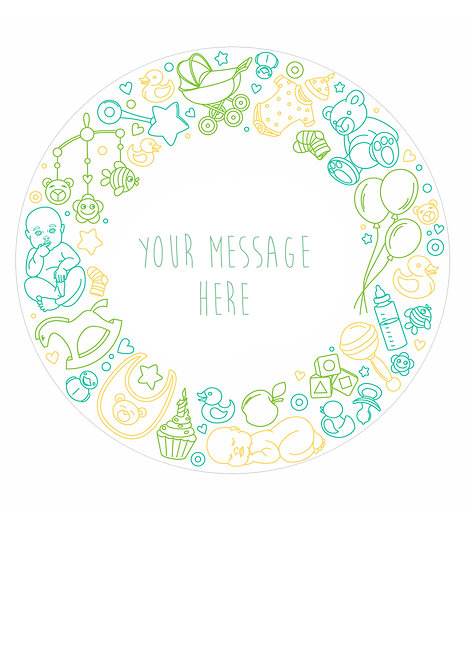 Neutral Baby Shower PERSONALISED MESSAGE 7.5 Inch Circle Decor Icing Sheet