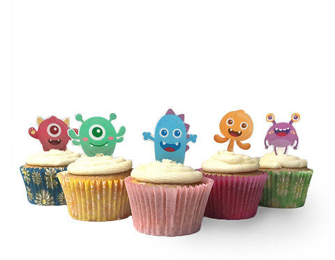 24 Stand Up Edible Wafer Paper Cute Monsters Cake Toppers