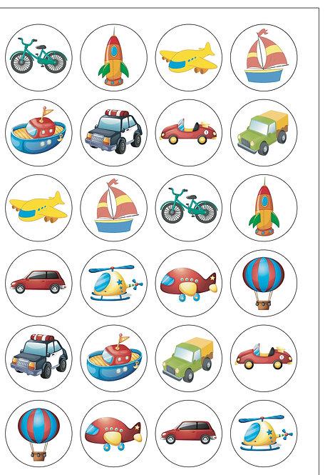 24 Children's Transport Pre-Cut Thin Edible Wafer Paper