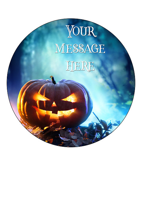 Halloween Pumpkin PERSONALISED MESSAGE 7.5 Inch Circle Decor Icing Topper