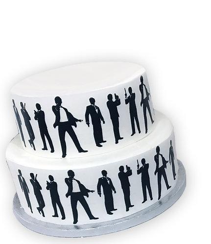 James Bond Spy Silhouette Border Decor Icing Sheet Cake Decoration
