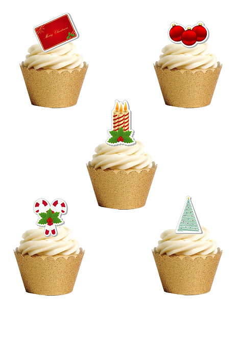 Stand Up Mixed Christmas Images Edible Wafer Paper Cake Toppers
