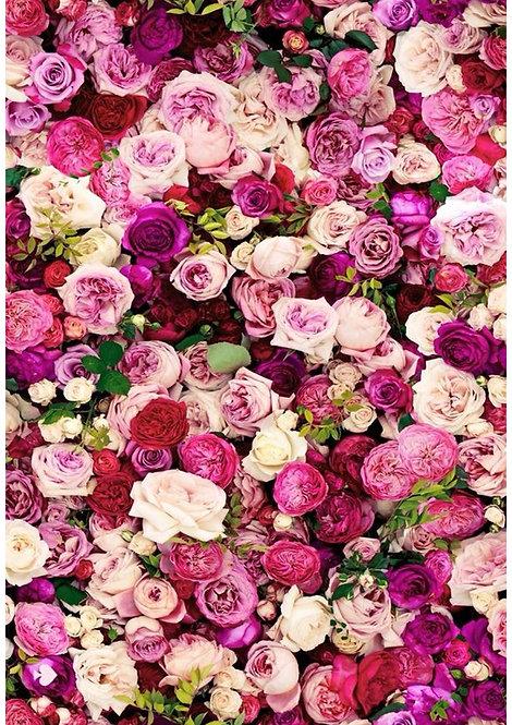 1 x A4 Pink Rose Floral Wallpaper Decor Icing Sheet