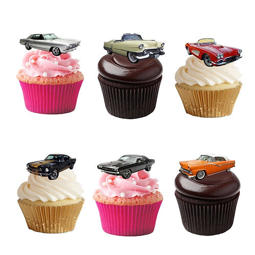 17 Stand Up Edible Wafer Paper American Cars Toppers