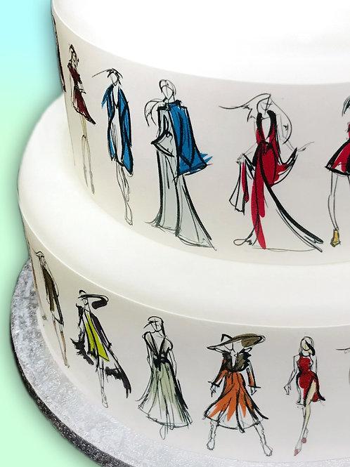 Fashion Figure Drawings Border Decor Icing Sheet Cake Decoration Topper