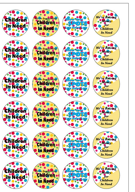 24 Precut Edible Wafer Paper Children In Need Charity Cake Toppers