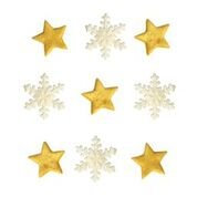 White Snowflakes & Gold Stars Edible Sugarcraft Icing