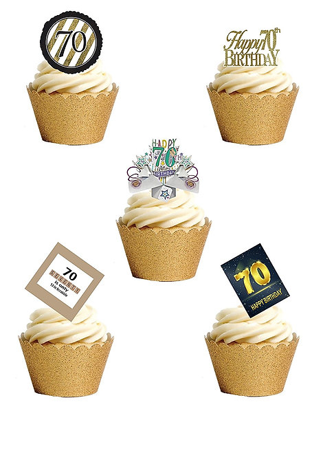 24 Stand Up Edible Wafer Paper Seventieth 70th Birthday Toppers