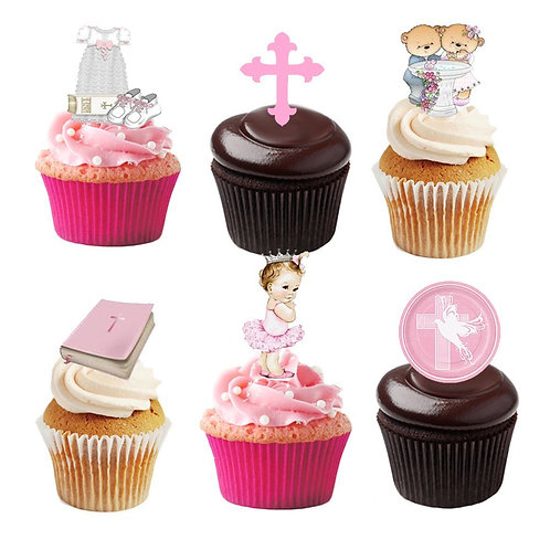 30 Stand Up Edible Wafer Paper Christening Baby Girl Toppers Decorations