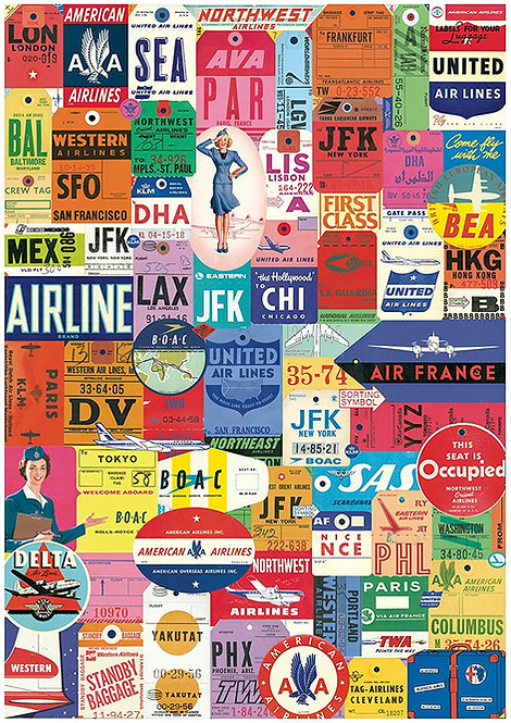 1 x A4 Vintage Airline Luggage Tags Labels Wallpaper Decor Icing Sheet