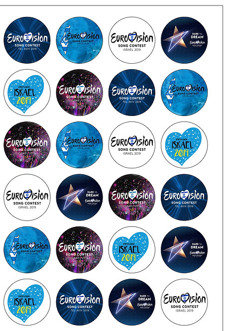 24 Precut Edible Wafer Paper Eurovision Song Contest 2019 Cake Toppers