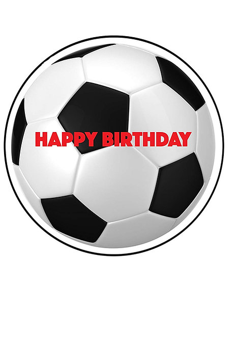 Black and White Football Happy Birthday 7.5 Inch Circle Decor Icing Sheet
