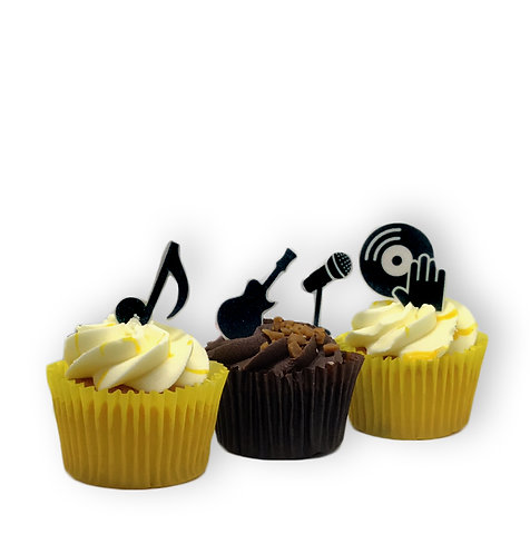 30 Stand Up Edible Wafer Paper Music Note themed Cake Toppers