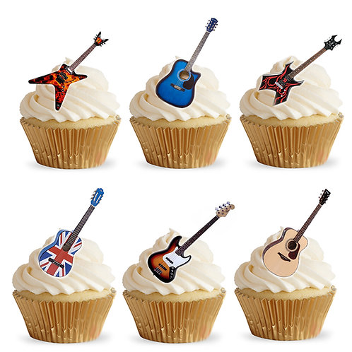 28 Stand Up Edible Wafer Paper Acoustic Guitar Toppers