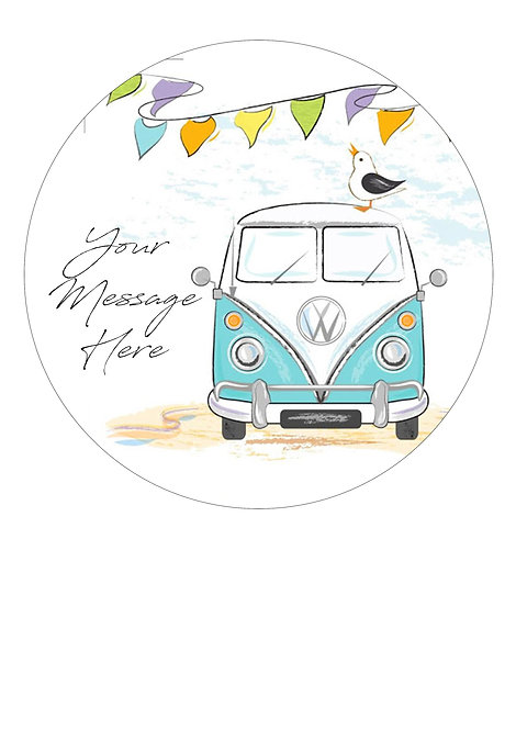 Vintage Camper Van PERSONALISED MESSAGE 7.5 Inch Circle Decor Icing Topper