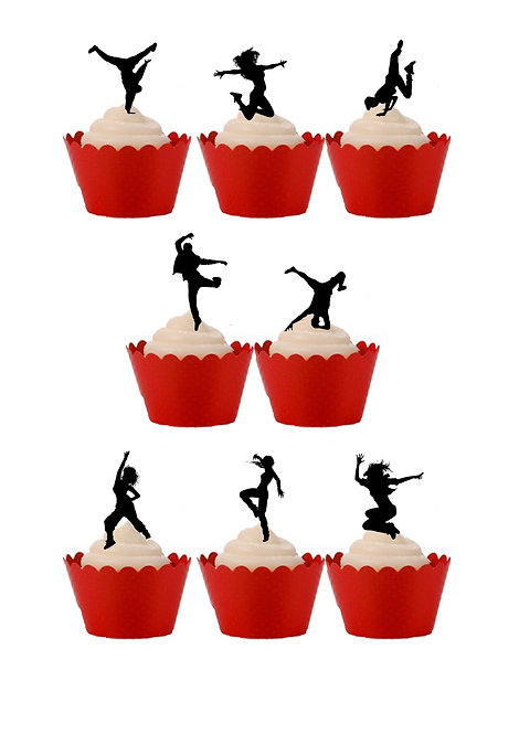 30 Stand Up Edible Wafer Paper Street Dance Silhouette themed Cake Toppers