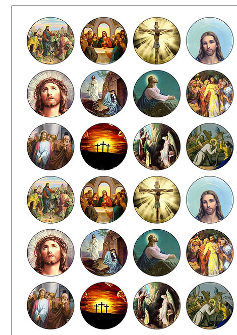 24 Religious Christian Easter Pre-Cut Thin Edible Wafer Paper