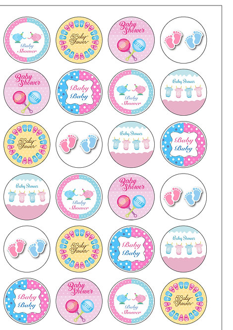 24 Pink and Blue Baby Shower Pre-Cut Thin Edible Wafer Paper
