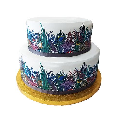 Coral Reef & Tropical Fish Border Decor Icing Sheet Cake Decoration
