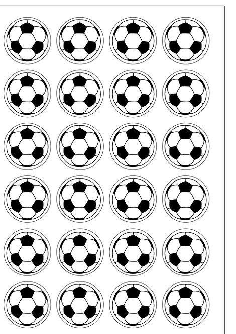 24 Black and White Footballs Sport Pre-Cut Thin Edible Wafer Paper