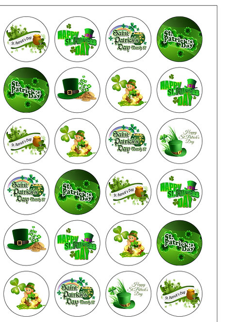 24 Precut St Patricks Day Edible Wafer Paper Toppers Decorations