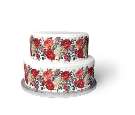Pink Peony Ribbon Border Decor Icing Sheet Cake Decoration