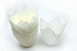 50 White Tulip Muffin Cupcake Baking Cases