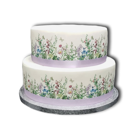 Wild Flowers & Butterfly Border Decor Icing Sheet