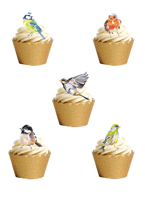 30 Stand Up Garden Birds Edible Wafer Paper Cake Toppers