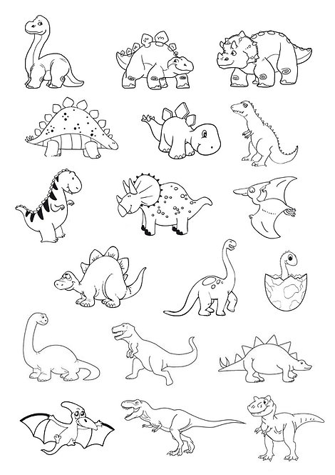 Cute Dinosaurs Colouring Pack Edible Wafer & 10 Foodoodler Pens